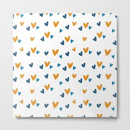 Blue Orange Heart Print Metal Print