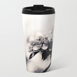 Black and White Flowers Metal Travel Mug