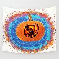 stitch Wall Tapestries featuring Pumpkin Stitch  by grapeloverarts
