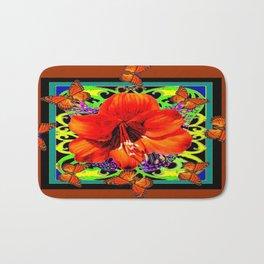 Monarch Butterflies Amaryllis Flower Coffee brown Art Bath Mat