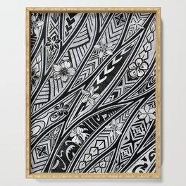 Vintage Hawaiian Tribal Floral Tattoo Tapa Print Serving Tray