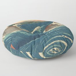 Vintage poster - Japanese Wave Floor Pillow