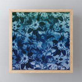 Blossoming flowers print in blue Framed Mini Art Print
