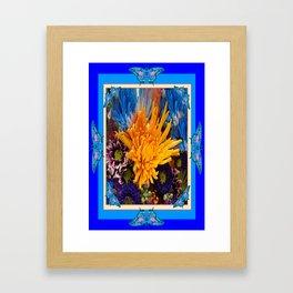 Golden yellow Mum  Bouquet & Blue Butterflies Art  Framed Art Print