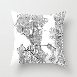 Seattle White Map Throw Pillow