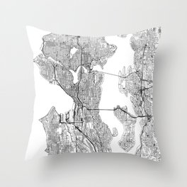 Seattle White Map Throw Pillow