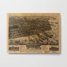 Map Of Pensacola 1885 Metal Print