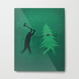 Funny Cartoon Christmas tree is chased by Lumberjack / Run Forrest, Run! Metal Print