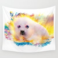seal Wall Tapestries featuring  curious seal by ururuty