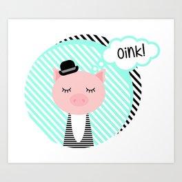 Piggy in bowler hat Art Print