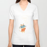 bonjour V-neck T-shirts featuring Bonjour by AronDraws