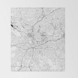 Atlanta White Map Throw Blanket