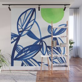 Navy blue and lime green abstract leaves Wall Mural