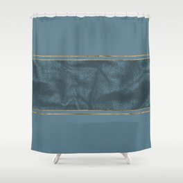 Blueprint and Leather texture Shower Curtain