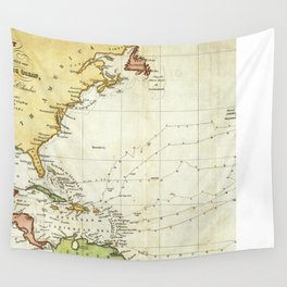 Vintage Christopher Columbus Voyage Map (1828) Wall Tapestry