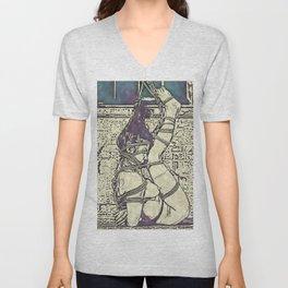 Ink and watercolor - Shibari slave girl, BDSM erotic Unisex V-Neck