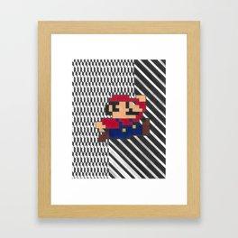 Pixellated Mario Bros Framed Art Print