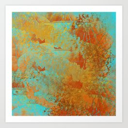 Turquoise and Copper-Red Art Print