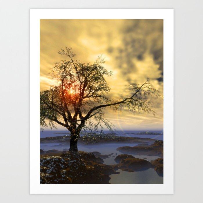 Tree in November sun Art Print