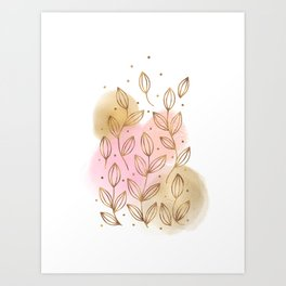 Gold Flowers and Rose Blush Art Print
