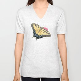 Swallowtail Butterfly And Zinnias Unisex V-Neck