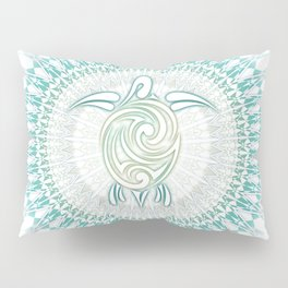 Turquoise Green Turtle And Mandala Pillow Sham