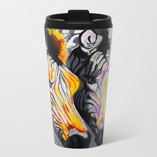 COLOR ZEBRAS Metal Travel Mug