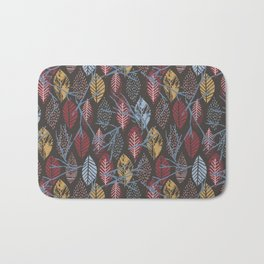 Autumn pink blue brown hand painted leaves Bath Mat