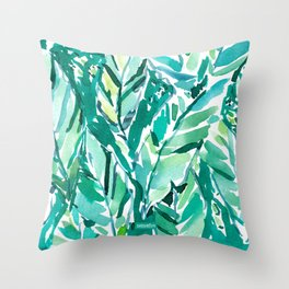 BANANA LEAF JUNGLE Green Tropical Throw Pillow