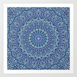 Blue Garden of Life Mandala Art Print