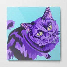 Eddie- Black Cat pet pop portrait Metal Print