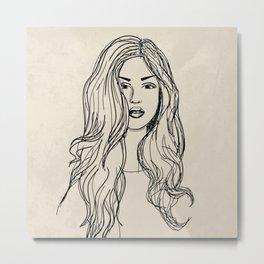 Hand drawn woman with long hair Metal Print