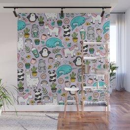 Narwhal and Friends, Emoji Tween Print, Unicorn, Cute Panda, Frappuccino, Penguin, Hippo Girls Art Wall Mural