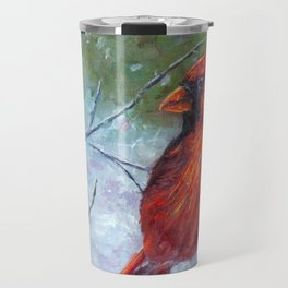 Winter Cardinal Travel Mug