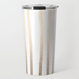 Simply Drawn Vertical Stripes in White Gold Sands Travel Mug
