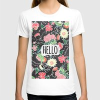 preppy T-shirts featuring Pastel preppy flowers Hello typography chalkboard by Girly Trend