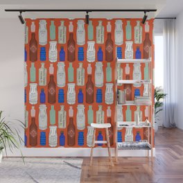 Vintage Bottle Collection Illustrated Repeat Pattern Print Wall Mural