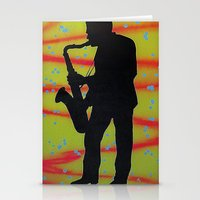 saxophone Stationery Cards featuring Saxophone Player by Jared Haberman