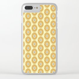 Golden floral on beige Clear iPhone Case