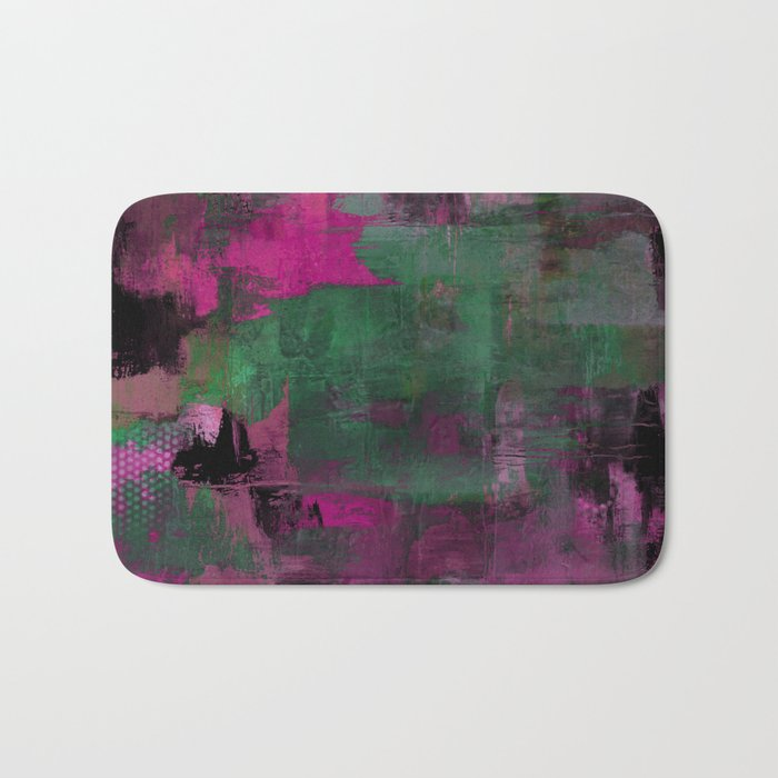 Deep Purple - Abstract, textured painting Bath Mat