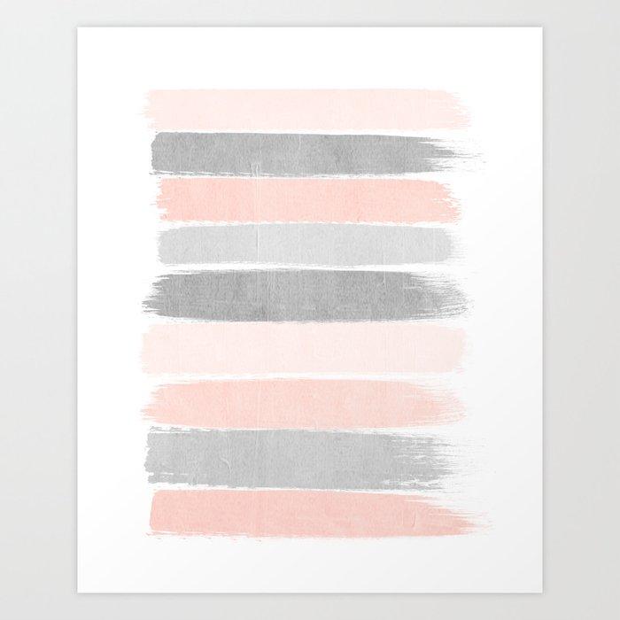 Grey and millennial pink stripes painted minimalist brushstrokes canvas art Art Print