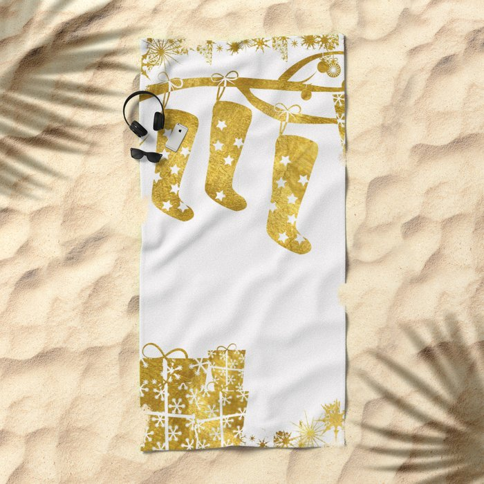 Gold Christmas 02 Beach Towel