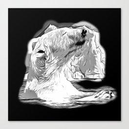 icebear polarbear enjoying vector art black white Canvas Print