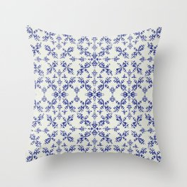 Boho Stiches in Indigo Throw Pillow
