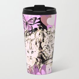 Frieda's Baby Cats in Pink Travel Mug