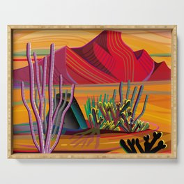 Cactus Garden Sunset Square Serving Tray