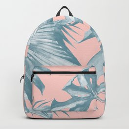 Tropical Leaves Ocean Blue on Coral Pink Backpack