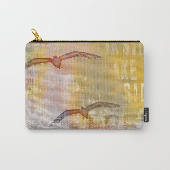 Free bird mixed media artwork Sea Gulls and Typography Carry-All Pouch