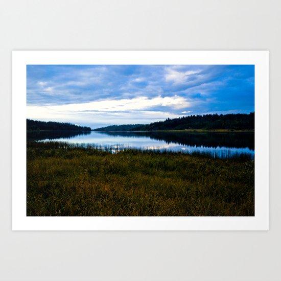 Blue Lake at Dusk Art Print