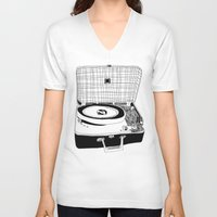 record V-neck T-shirts featuring Record Player by Paul McCreery